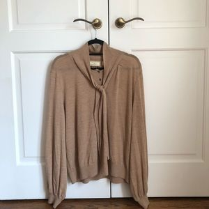 Anthropologie cashmere blend tie neck sweater XL